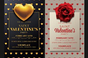 2 Valentines Day Flyer Invitation