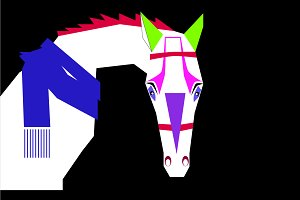 Funny horse with scarf, vivid modern