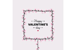 Valentines day card with light bulbs