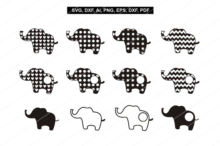 Elephant Svg Files Cuting Files Dxf Pre Designed Photoshop Graphics Creative Market