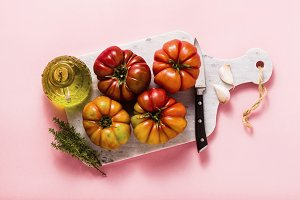 brandywine tomato on a cutting board