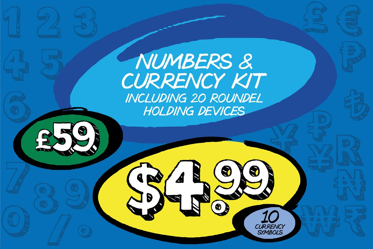 Pricing, Numbers & Currency Symbols ~ Illustrations