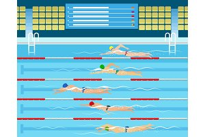Male swimming racing in pool