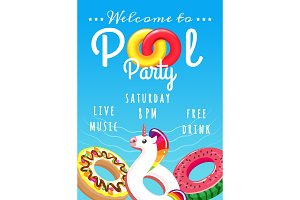 Pool party poster for kids