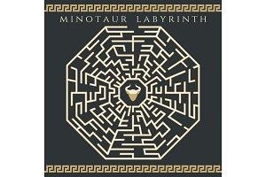 Maze enigma with minotaur icon