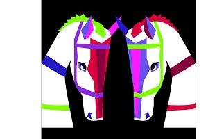 Two colorful horses, vivid, purple