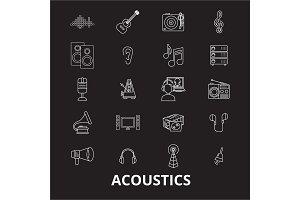 Acoustics editable line icons vector