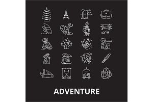 Adventure editable line icons vector