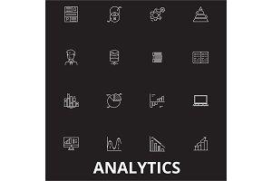 Analytics editable line icons vector