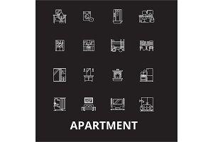 Apartment editable line icons vector