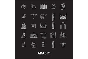 Arabic editable line icons vector