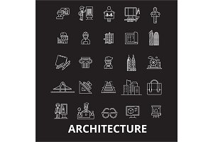 Architecture editable line icons