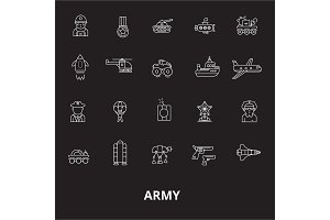 Army editable line icons vector set