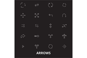 Arrows editable line icons vector
