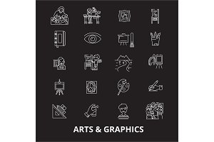 Arts graphics editable line icons