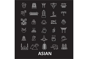 Asia and asian editable line icons