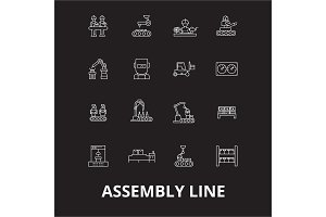Assembly line editable line icons