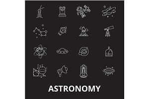 Astronomy editable line icons vector