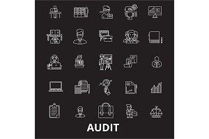 Audit editable line icons vector set