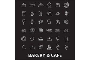 Bakery editable line icons vector