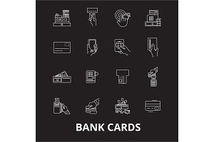 Bank cards editable line icons