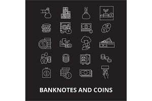 Banknotes and coins editable line