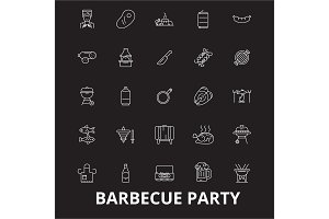 Barbecue party editable line icons