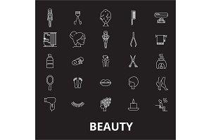 Beauty editable line icons vector