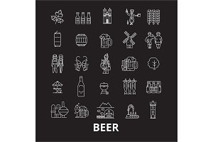 Beer editable line icons vector set
