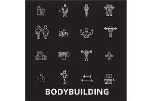 Bodybuilding editable line icons