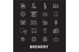 Brewery editable line icons vector