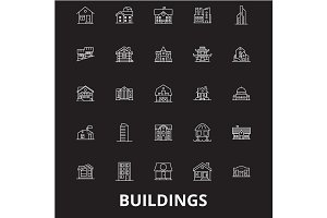 Buildings editable line icons vector
