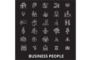 Business people editable line icons