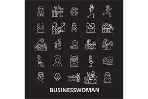 Business woman editable line icons