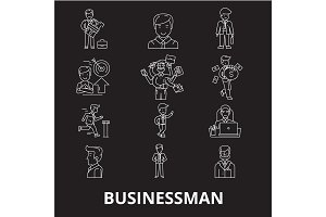 Businessman editable line icons