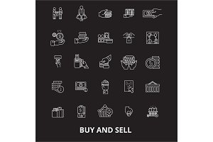 Buy and sell editable line icons