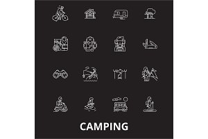 Camping editable line icons vector