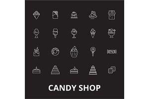Candy shop editable line icons