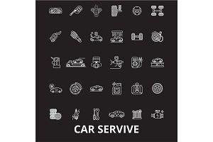 Car service editable line icons