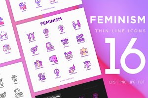 Feminism | 16 Thin Line Icons Set
