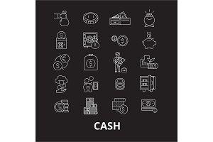 Cash editable line icons vector set
