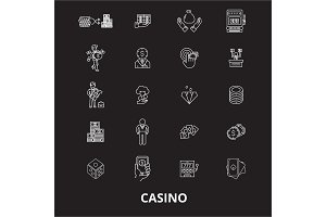 Casino editable line icons vector