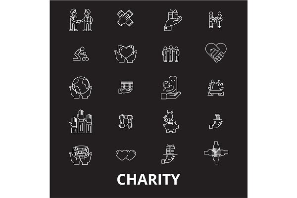 Charity editable line icons vector