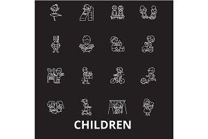 Children editable line icons vector