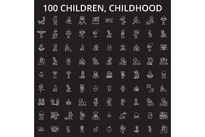 Children, childhood editable line