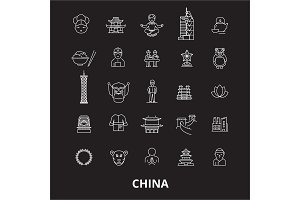 China editable line icons vector set