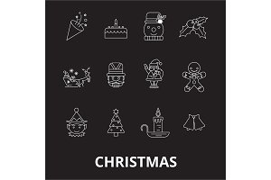 Christmas editable line icons vector