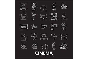 Cinema editable line icons vector