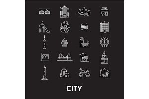 City editable line icons vector set