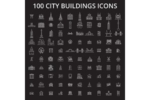 City buildings editable line icons